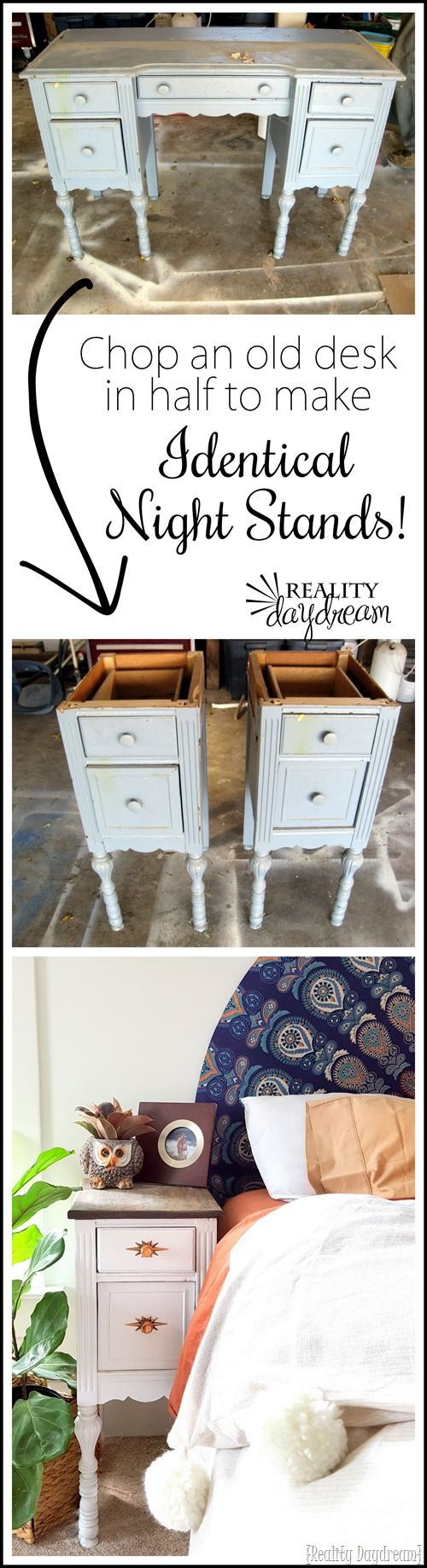 Take apart an old desk to make two unique and IDENTICAL night stands! Finally a…