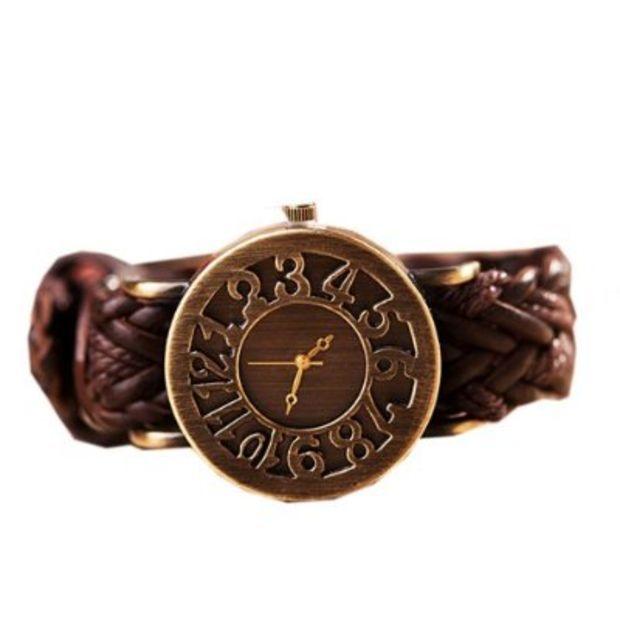 Zeagoo Women's Puck Vintage Hollow Digital Woven Leather Bracelet Quartz Watch Brown