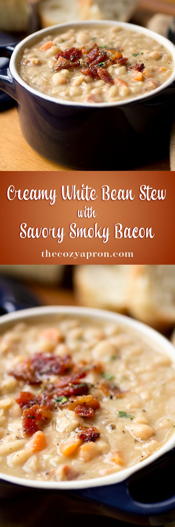Creamy White Bean Stew with Savory Smoky Bacon