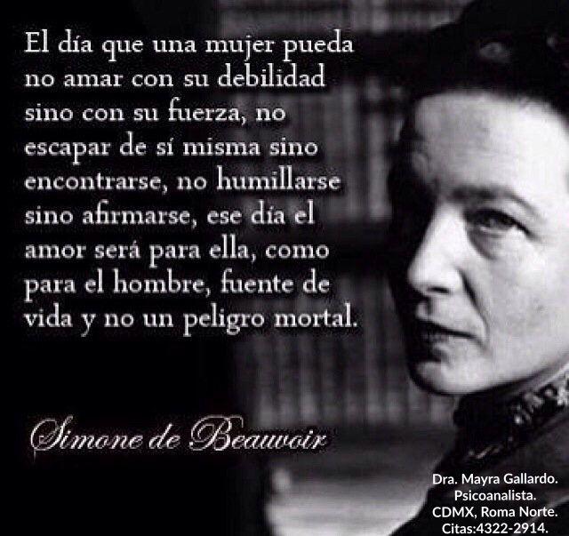 """14 de abril de 1986 - aniversario luctuoso- #SimoneDeBeauvoir  """"El día que la mujer pueda amar..."""""""