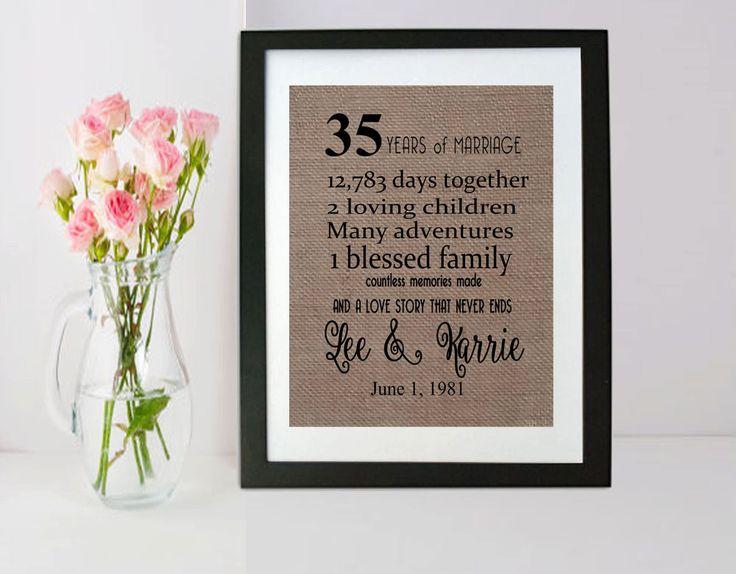 35 Year Wedding Anniversary - 35th Anniversary Gift - 35 Years of Marriage…