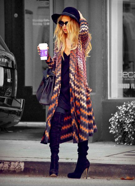 Have this color kimono and knee high black boots...maybe could pull off?