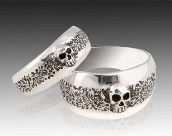 Skull Wedding RingGoth Engagement RingWomans by KipkalinkaJewels