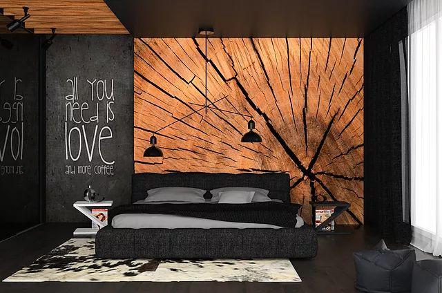 czarna sypialnia z drewnem, pień na ścianie, drewno w sypialni, architekt gorlice, projektowanie wnętrz kraków, projekt sypialni, czarna sypialnia, drewno w sypialni, motyw pnia na ścianie, drewno na ścianie za łózkiem, czarny sufit, drewno na suficie, klimatyczna sypialnia, tapeta pień, ciemna sypialnia, czerń we wnętrzu, drewniane belki na suficie, napisy na ścianie,projekt aranzacji wnętrz, projektowanie wnętrz,czarne dodatki w sypialni