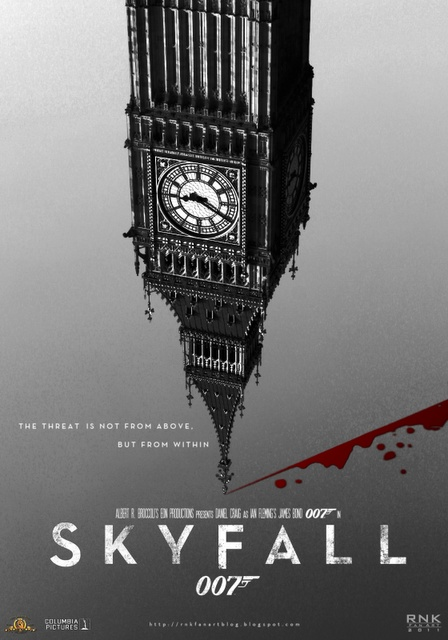 Skyfall poster showing Big Ben, the most famous and recognisable clock in London, if not the world. Palace of Westminster, SW1