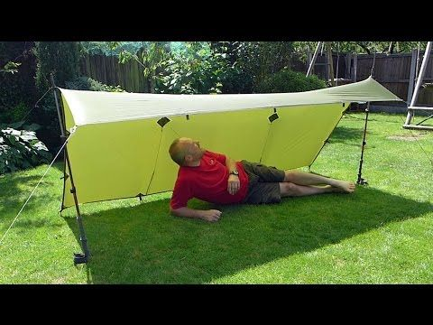 9' x 5' Tarp Shelter Set-up : The 'Lean-To' - using 2 trekking poles and 2 optional lifters - YouTube