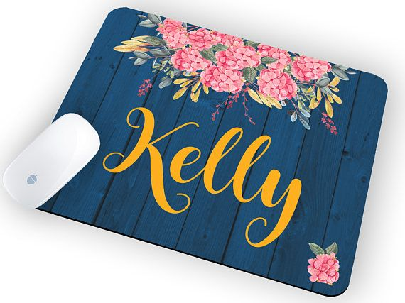 Personalized mom gift Mouse Pad with Name Mouse pad floral