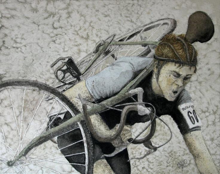 Carrying Vintage Bike, by Tanya Petruk, Watercolour, 8X10