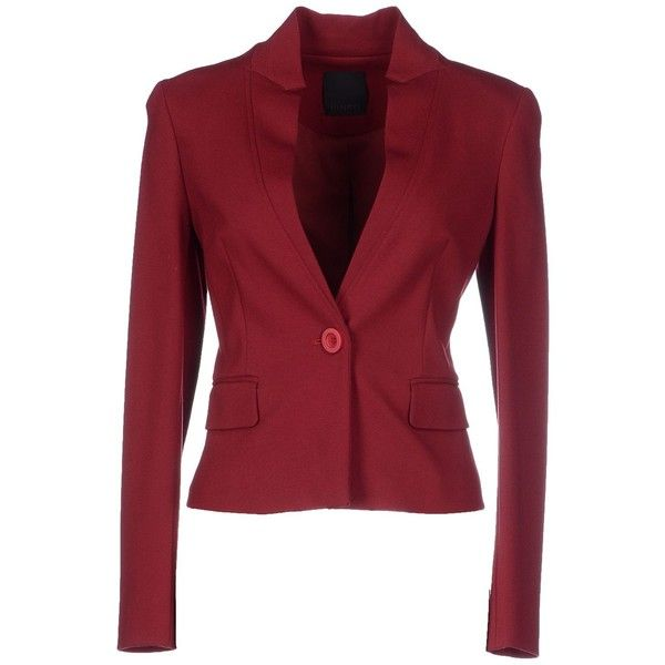 Pinko Black Blazer ($215) ❤ liked on Polyvore featuring outerwear, jackets, blazers, maroon, maroon jacket, one button jacket, long sleeve blazer, red jacket and maroon blazer