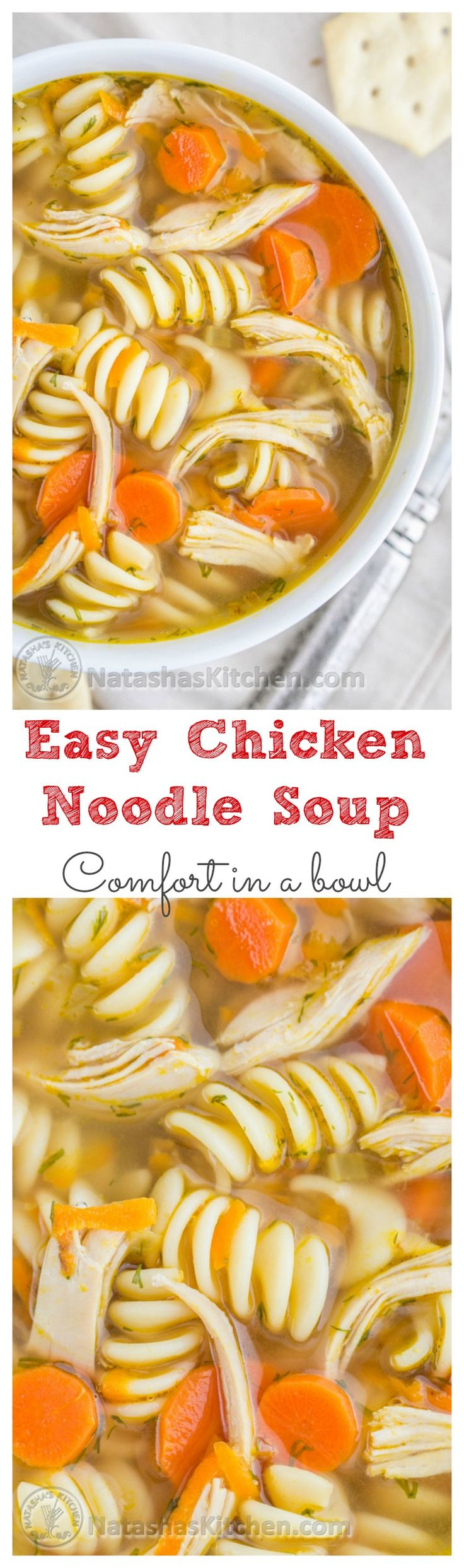 Easy and Delicious Chicken Noodle Soup. The secret is in the chicken thighs!! natashaskitchen #maincourse #recipes #dinner #recipe #easy