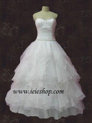 Strapless Sweetheart Princess Organza Ruffle Wedding Dress by ieie