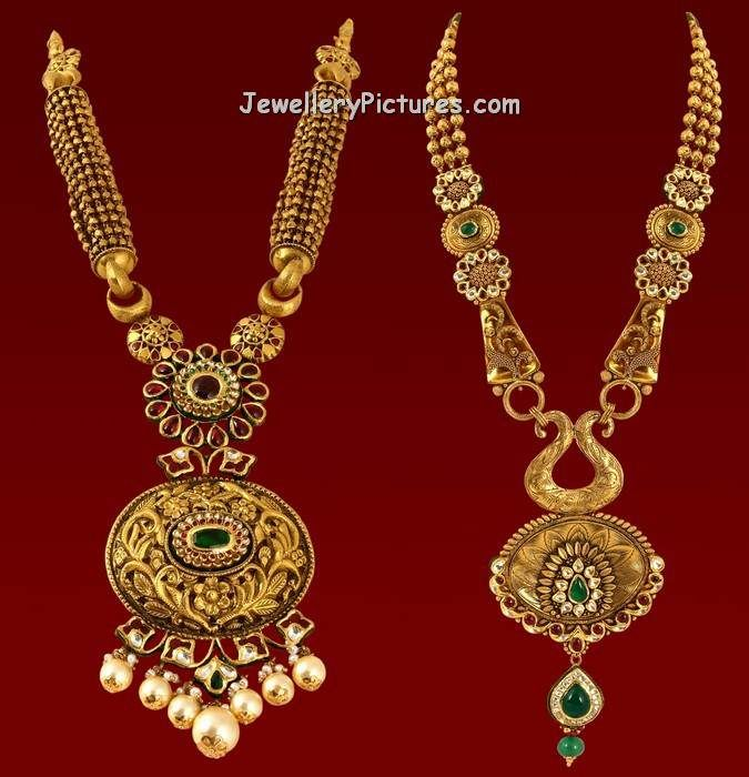 22 carat gold long chain designs have been preferred by indian women for the past few years. Make a beautiful choice for your wedding jewellery by owning antique long haram designs from Vaibhav jewellers.Antique finished gold adorned with kundans and south sea pearls. For long haram designs with weight and price contact Vaibhav Jewellers, Visakhapatnam,Kakinada,Gajuwaka,Parvathipuram Tel: 0891-6667777 …