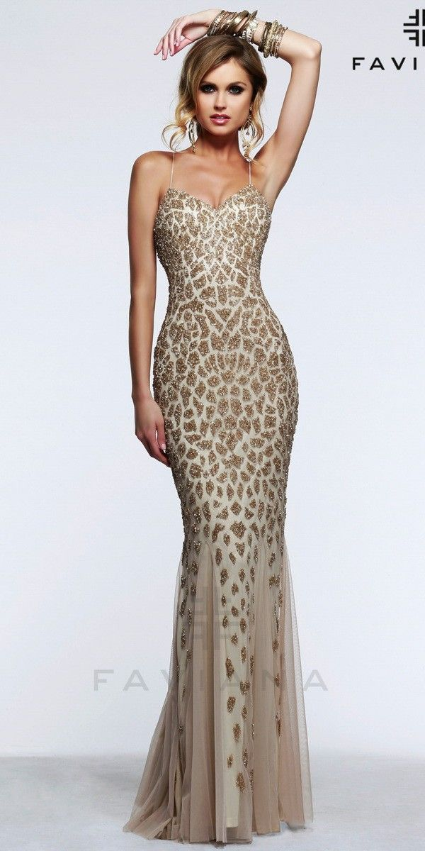Unique Sequin Animal Print Gown Faviana S7610