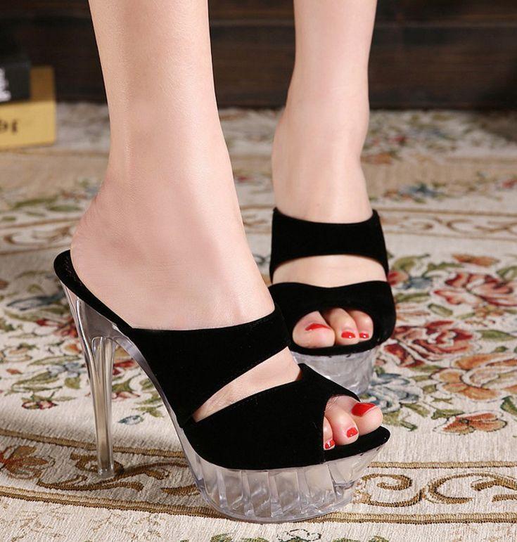 Womens Velvet Summer Clear Platform Stiletto Heels Shoes Sandals Slingback Club
