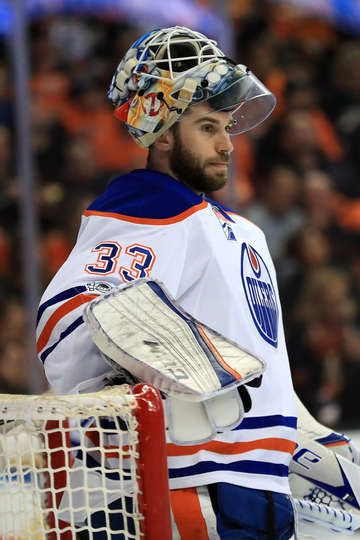 ANAHEIM, CA - APRIL 26: Cam Talbot #33 of the Edmonton Oilers looks on during the first period in Game One of the Western Conference Second Round during the 2017 NHL Stanley Cup Playoffs against the Anaheim Ducks at Honda Center on April 26, 2017 in Anaheim, California. (Photo by Sean M. Haffey/Getty Images)