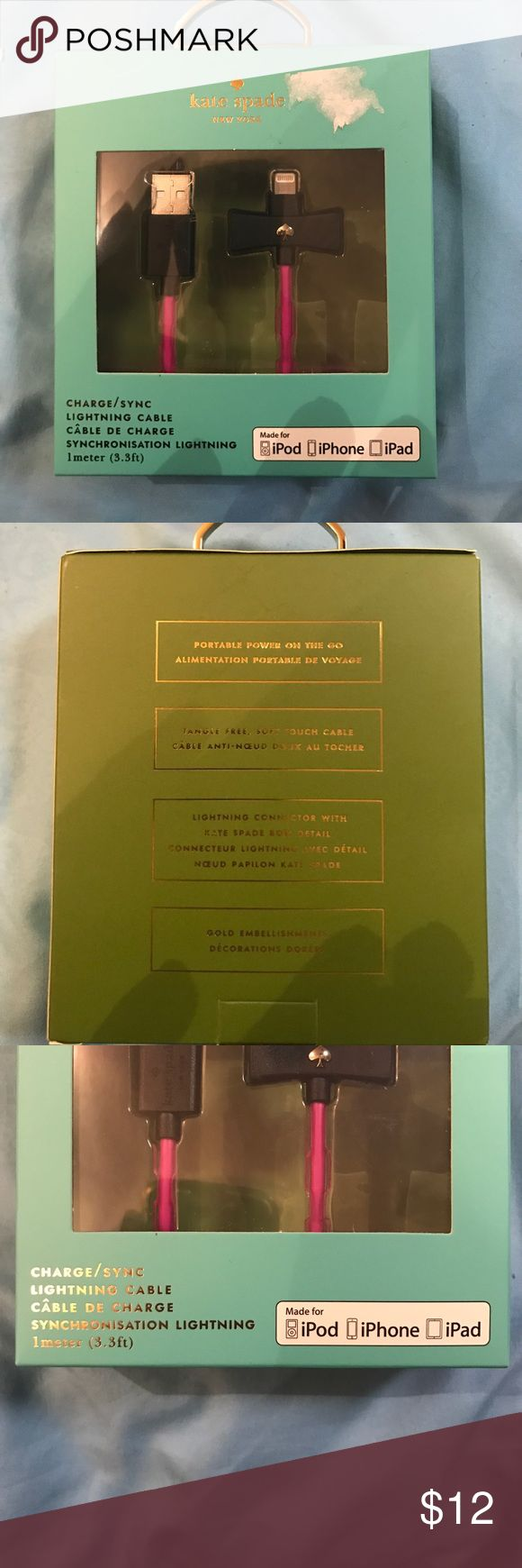 NIB kate spade iPhone Charging/Sync Lighting Cable This is a portable power on the go, tangle free soft touch cable, lighting connectors with kate spade bow detail, gold embellishments. This is a charging/syncing cord for iphone5 and up!!! kate spade Accessories