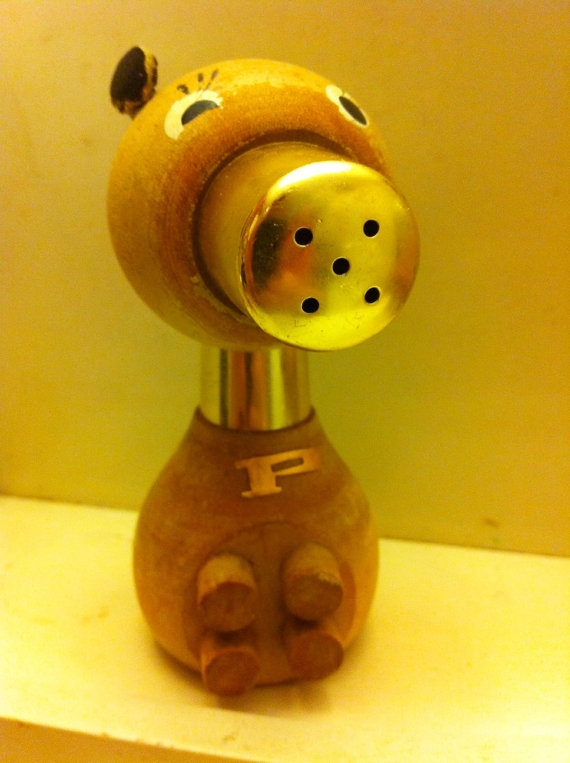 Vintage Pig wooden salt and pepper shaker  Two in by AllisonKapner, $18.00