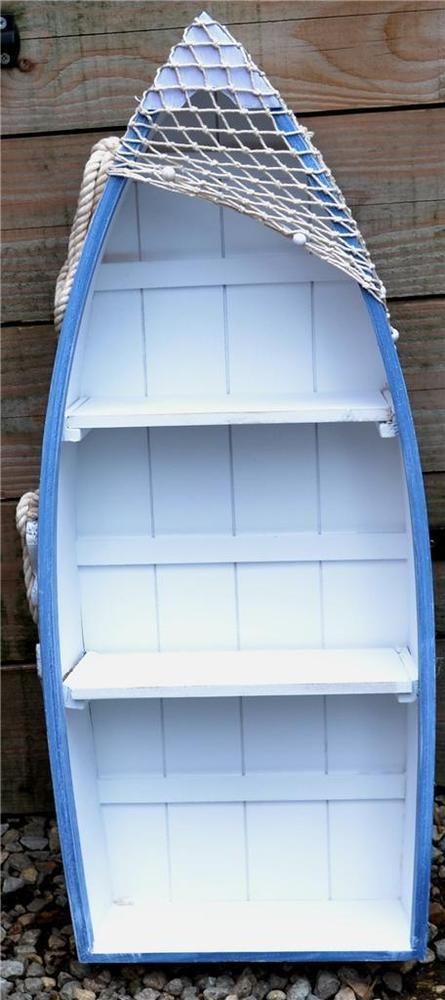 73cm WOODEN BLUE & WHITE ROWING BOAT SHELVES Nautical Seaside Shelf Unit