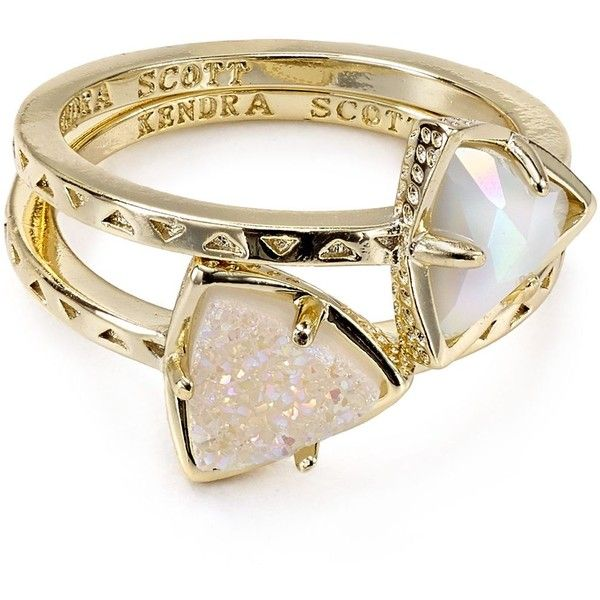 Kendra Scott Ann Rings, Set of 2 ($74) ❤ liked on Polyvore featuring jewelry, rings, accessories, joias, kendra scott, drusy ring, drusy jewelry, druzy ring and kendra scott jewelry