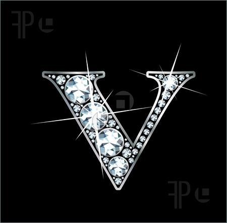 V Alphabet In Diamond beautiful