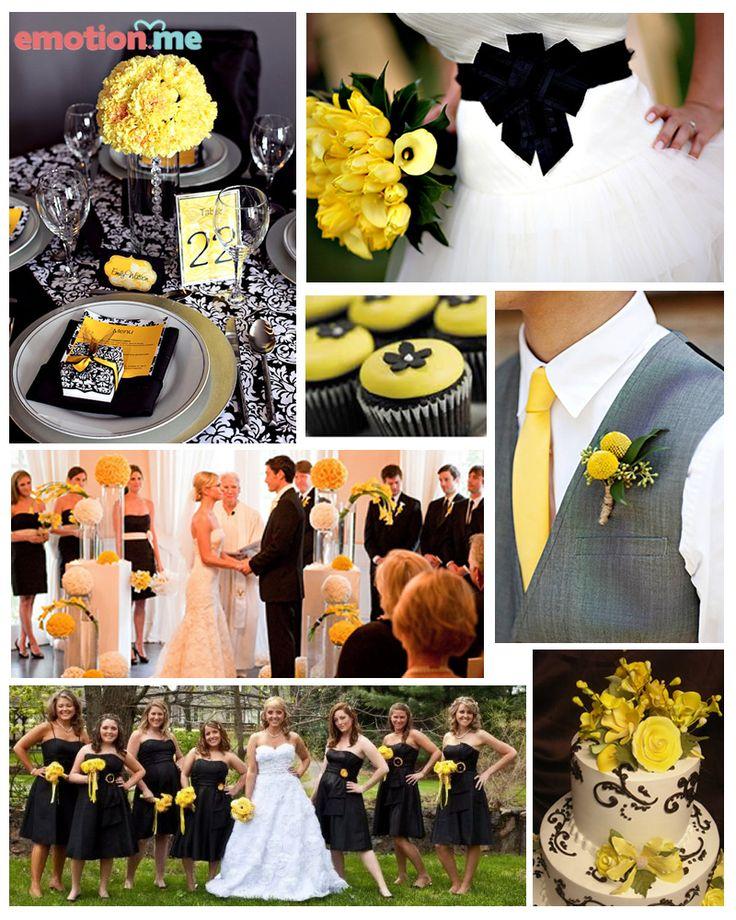#Inspiração: Casamento em preto, amarelo e branco