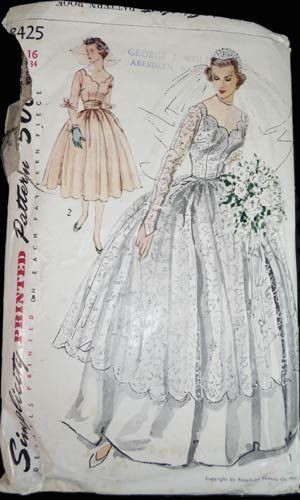 1950's wedding dress vintage pattern. This was the exact pattern for my mothers wedding dress. She was beautiful in it. And those who attended her wedding still comment about her dress and her beauty that day. Some things are proven to be timeless. that's why I have so many ancient &  antique and retro images on my boards.