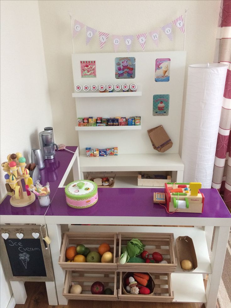 DIY Kaufladen Candy Shop Aus Ikea Lack Bank +DC Fix Folie. #DIY #
