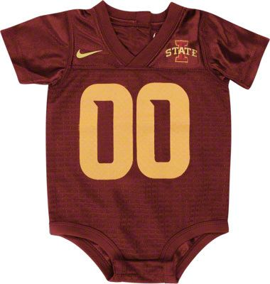 Pretty sure my bro-in-law would burn this, but I think my nephew should have it. Mini ISU football jersey onesie!!!