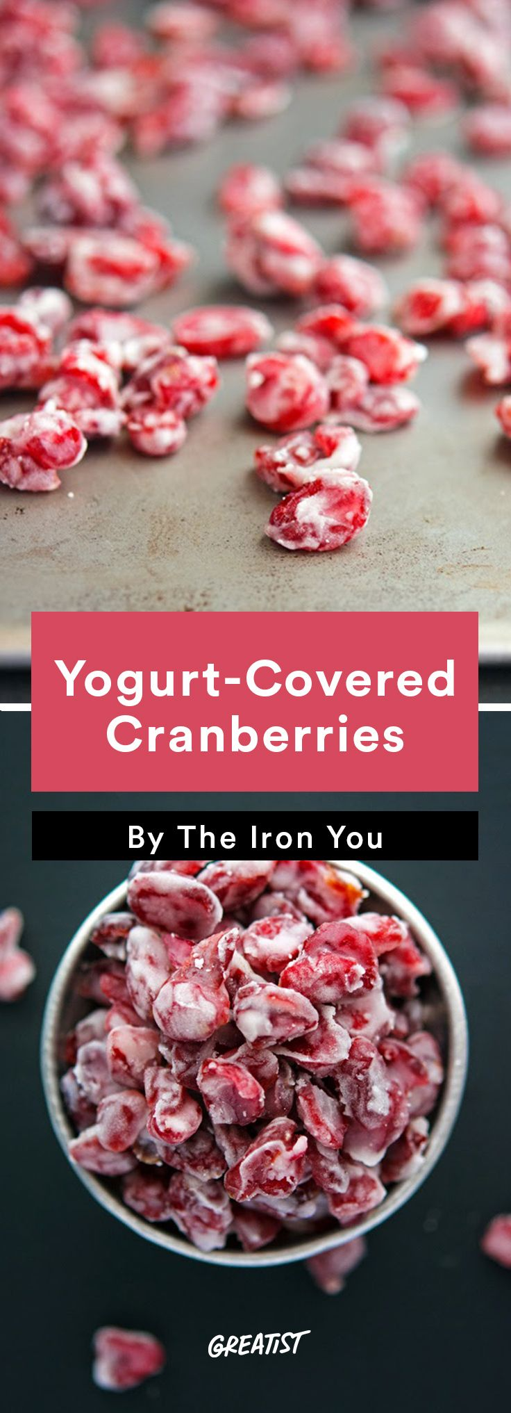 7. Yogurt-Covered Cranberries  #healthy #travel #snacks http://greatist.com/eat/healthy-snack-recipes-to-take-on-vacation