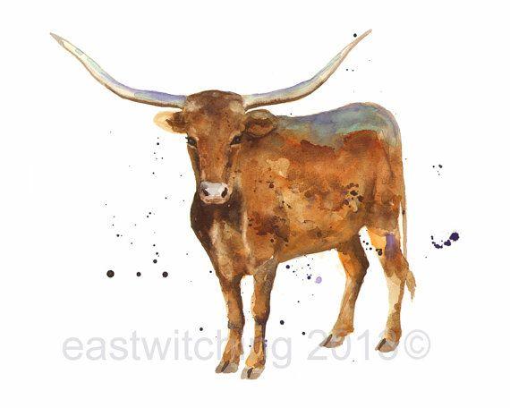 LONGHORN STEER Print steer art cows western art by eastwitching, $22.00