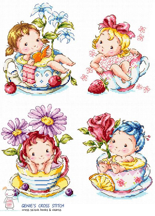 Tea cup ragazze Cross stitch pattern illustrativo. Grande grafico SODAstitch SO-G93  -W280count × H80count -Contiene la tabella di colore con i