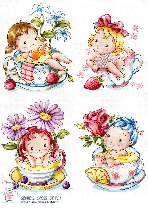 Tea cup girls Cross stitch pattern leaflet. by GeniesCrossstitch