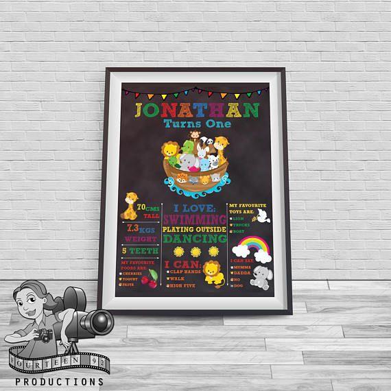Noah's Ark Chalkboard Milestone Poster