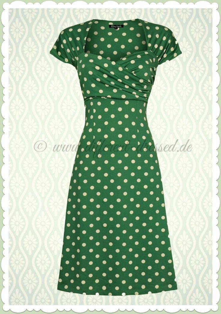 King Louie 50er Jahre Vintage Punkte Kleid - Ballroom Partypolka - Grün