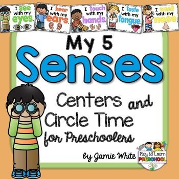 Preschoolers will learn all about their FIVE SENSES in this thematic unit that has circle time lessons and centers just for them!It includes these Hands-on Lessons:1.  Introduction - 5 Senses Song & Resource Poster2.  Sense of Sight - Poster, Big/Small sort, Eye Color Graph3.