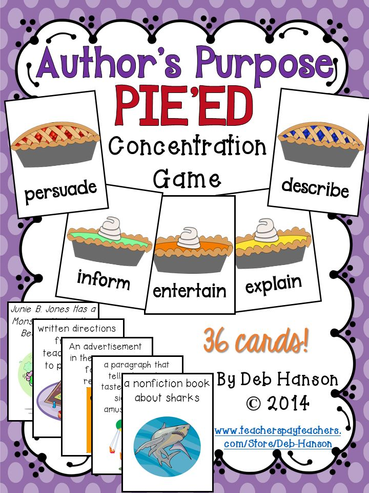 Students identify an author's purpose when playing this memory (concentration) game.  It includes the advanced PIEED form of teaching author's purpose.  $