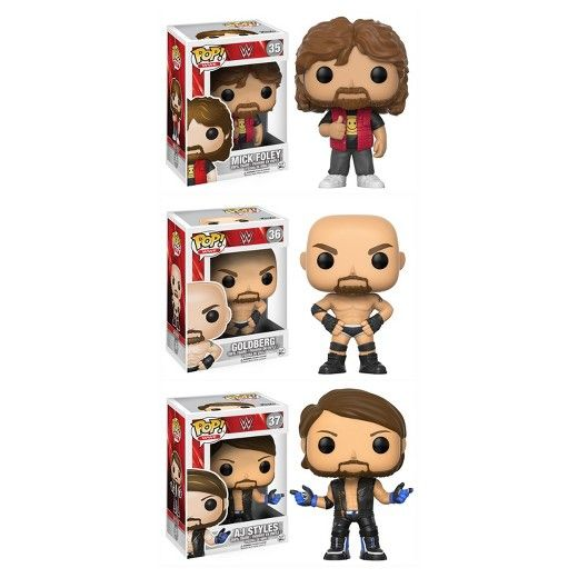 The WWE is back and better than ever! Complete your collection with Old School Mick Foley and Goldberg along with AJ Styles!