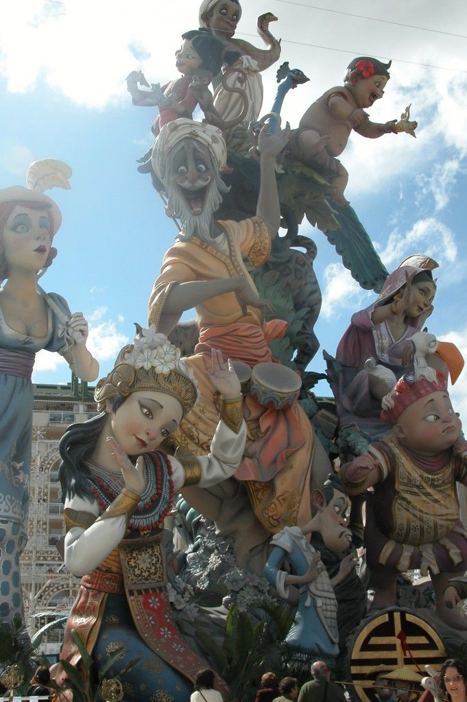 Las Fallas, Valencia! Learning about this in Spanish class!!! So crazy!!! Artists take months to build these elaborate paper maché sculptures and at night they burn them all down!!!