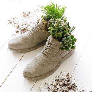 Concrete Brogue Shoes Plant Pots - the secret garden