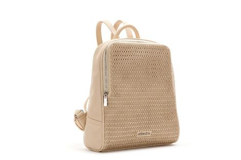 Laser perforated bonded leather rucksack with geometric shapes. It has two handles so that you can carry it on your back along with another very practical smaller strap.