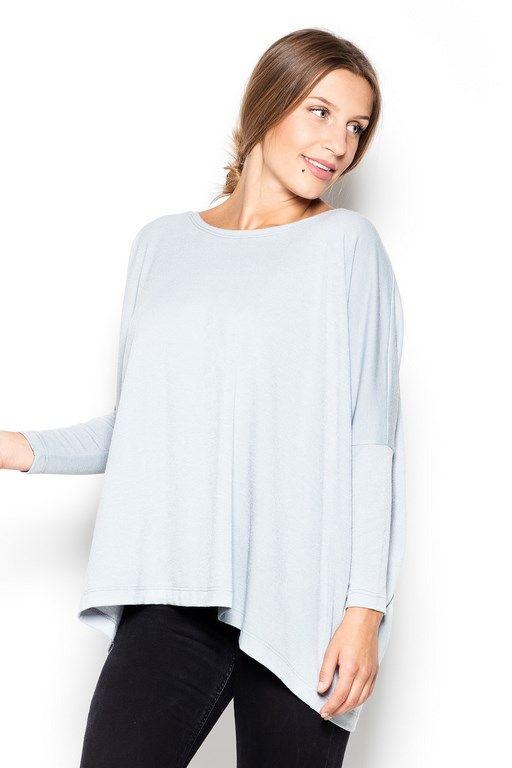 Asymetryczny ciepły sweter damski