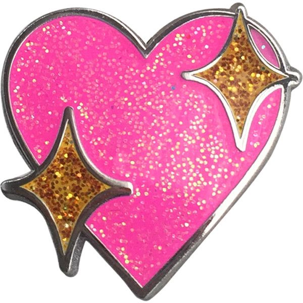 Sparkle Heart Emoji Pin *Glitter* ❤ liked on Polyvore featuring jewelry, pink heart jewelry, polish jewelry, glitter jewelry, heart jewellery and heart jewelry