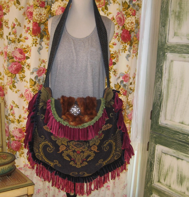 Marie Antoinette Bag and Purse, Real Fur and Tapestry Crossbody Gypsy Bohemian Bag, Edwardian Capetbag. $140.00, via Etsy.