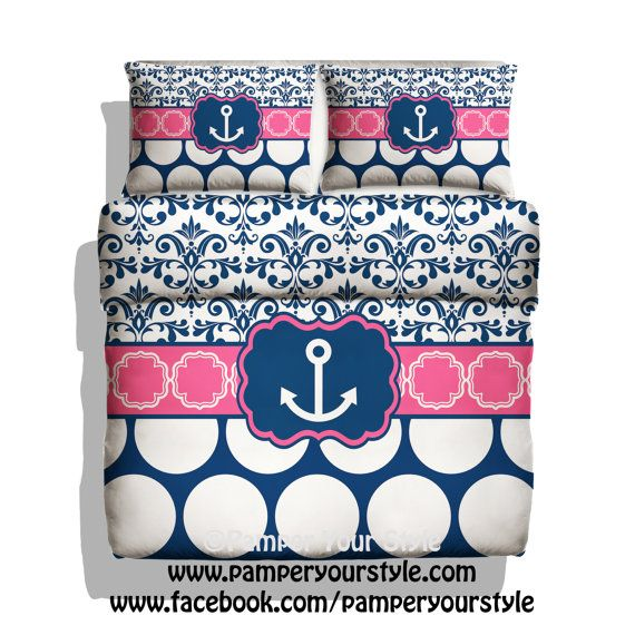 Monogrammed Nautical Anchor Bedding - Hot Pink and Navy Bedding - Damask and Polka Dot Personalize with Name or Monogram - Create your Bed
