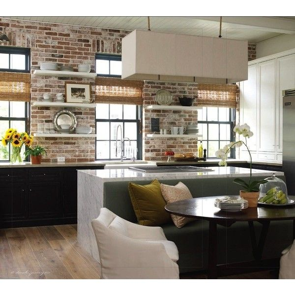 kitchens - exposed brick wall white floating shelves