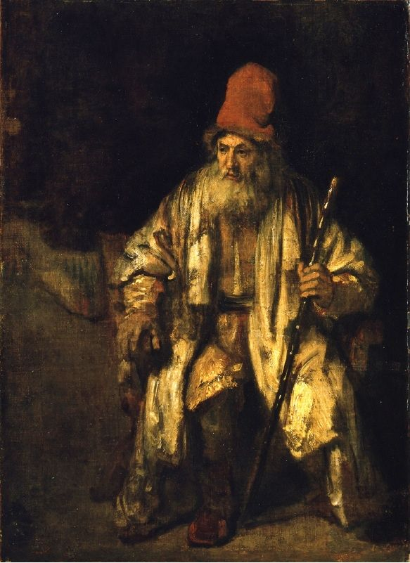 Rembrandt Harmensz van Rijn Oil study of An Old Man with a Red Hat.