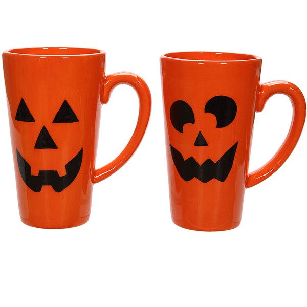Special T Imports Orange Jack-o'-Lantern Mug (€19) ❤ liked on Polyvore featuring home, kitchen & dining, drinkware, dishwasher safe mugs, orange mugs and tea mugs
