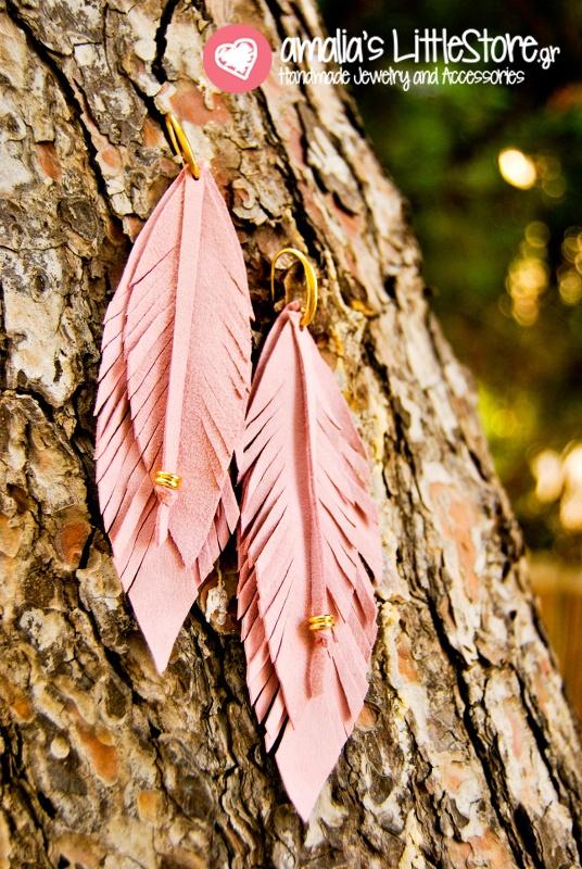 long leaves leather earrings!!