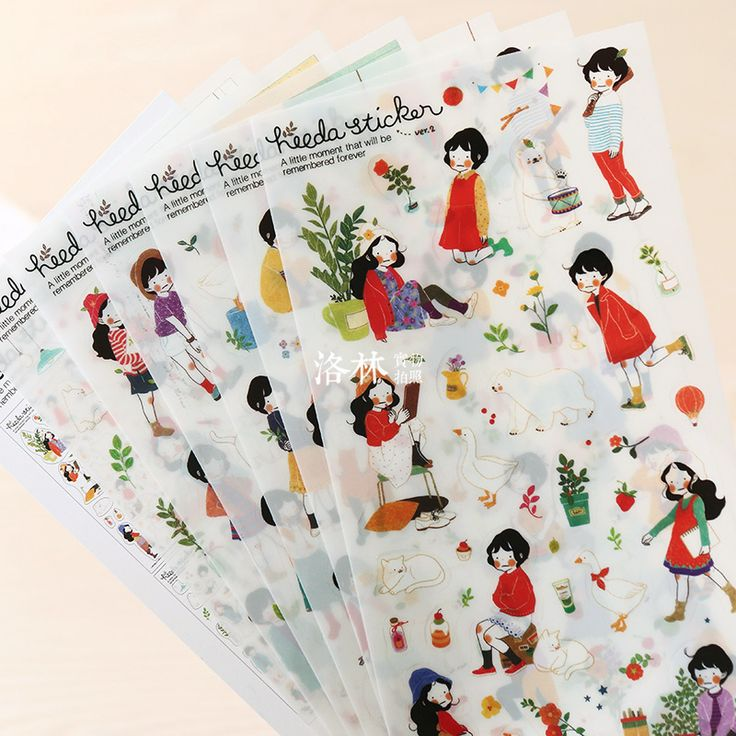 6 Sheets/set DIY Prerequisites Forestry Girl Diary Transparent PVC Decorative Stickers Photo Album Stickers