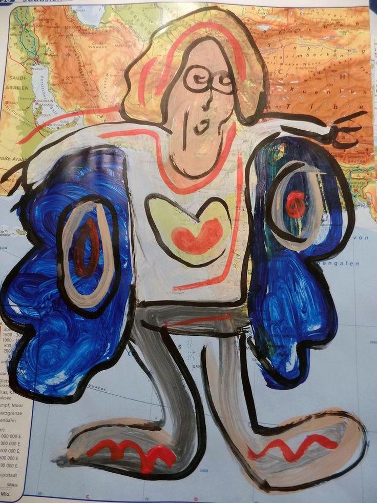 Engel Frau  Acryl auf Papier Pop Art Direkt vom Künstler SONDERPREIS